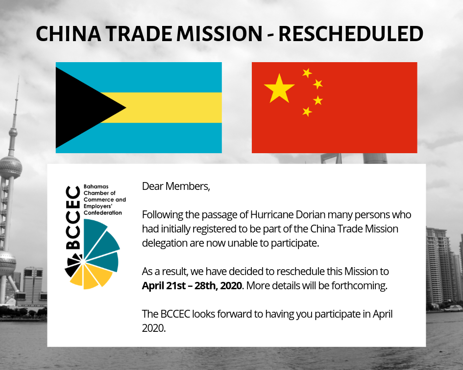 China Trade Mission Rescheduled